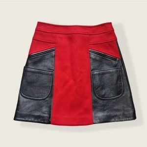COACH 1941 Flared Leather And Brushed Wool-blend Mini Skirt in Crimson